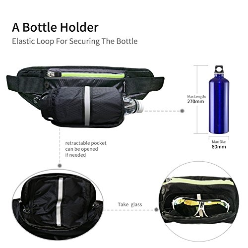 Fanny Pack MYCARBON Waist Pack with Water Bottle Holder,Waterproof Running Belt for Men Women,Fits IPhone 8Plus Galaxy S8 Note 8,Reflective Hydration Belt for Running Hiking Travelling-Black Fanny Bag by MYCARBON (Image #5)