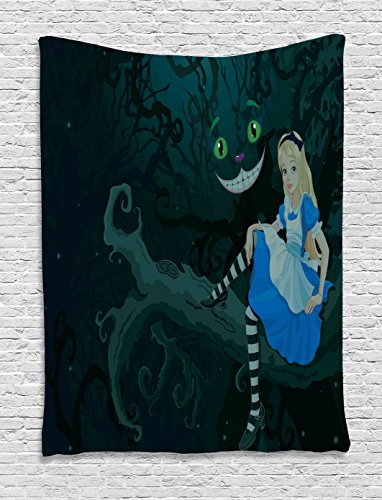 Alice in Wonderland Decorations Tapestry Wall Hanging by Ambesonne, Alice Sitting on Branch with Chescire Cat in Darkness Striped Cartoon Love, Bedroom Living Room Dorm Decor, 60 x 80 Inches, Multi (Dining Room Sitting Ideas)