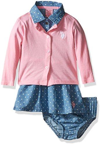 U.S. Polo Assn. US Polo ASSN Baby Girls Denim Dress & Cardigan, Prism Pink, 3/6M (Pink Denim Dress Set Girls)