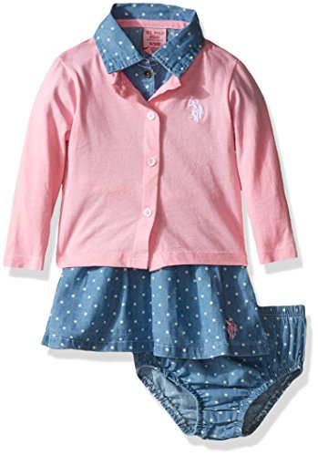 U.S. Polo Assn. US Polo ASSN Baby Girls Denim Dress & Cardigan, Prism Pink, 12M