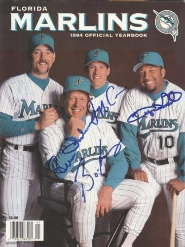 1994 Florida Marlins Jeff Conine, Bryan Harvey, Rene Lachemann And Gary Sheffield Autographed Signed Auto Official Yearbook 40 Additional Signtaures Inside Certified Authentic