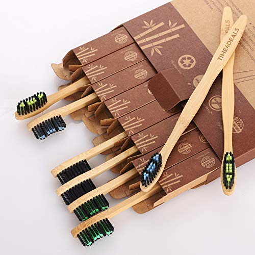 Natural Bamboo Toothbrushes 8 Packs – Individual Packing TIME4DEALS Household Travel Biodegradable Deep Cleaning…
