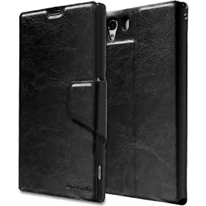 GreatShield SHIFT LX Leather Wallet Case with Card Slots for Sony Xperia Z1 (Black)