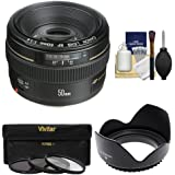 Canon EF 50mm f/1.4 USM Lens with 3 UV/CPL/ND8 Filters + Hood + Cleaning Kit for EOS 60D, 7D, 5D Mark II III, Rebel T3, T3i, T4i Digital SLR Cameras