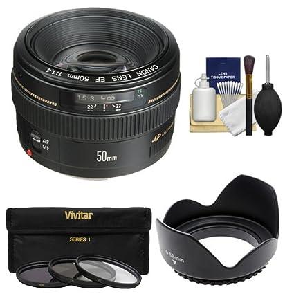 Canon EF 50 mm f/1,4 USM Lente con 3 UV/CPL/ND8 filtros + Parasol ...