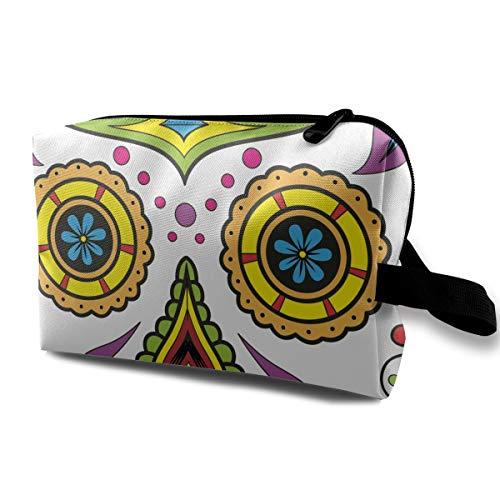 Halloween Sugar Skull Colorful Multi-function Travel Makeup Toiletry Coin Bag -