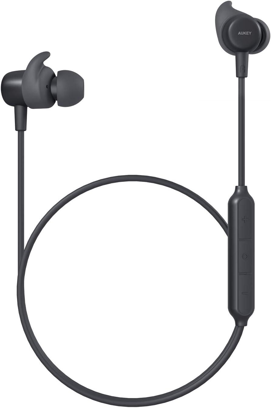 AUKEY Auriculares Bluetooth Deportivos, Auriculares Inalámbricos Bluetooth 5 In-Ear con CVC 6.0 Micrófono Reducción, IPX5 Impermeable, Reproducción de 8 Horas para iOS Android