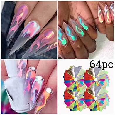Loprt Nail Sticker, 32/48/64PCS Nail Art Stickers Flame Reflections Tape Adhesive Foils DIY Decoration Nail Decor (64 pcs)