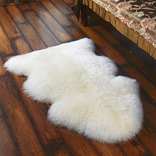 Sheepskin Window - Fashion Suit Luxurious Faux Plush Fur Sheepskin Fluffy Shaggy Area Rug Chair Window Cover Sofa Bedroom Floor Pad Home Rug,(white,2'x3')