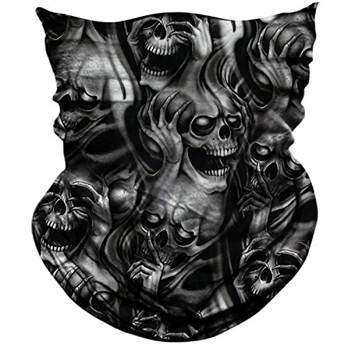 AXBXCX 3D Skull Skeleton Neck Gaiter Face Mask for Motorbike Motorcycle Cycling Riding Hiking Hunting Fishing Skateboard Powersports Cosplay Halloween Party Music Festivals Raves Tube Face Mask 027 -