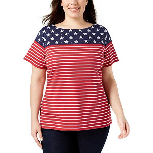 Karen Scott Womens Plus American Flag Rhinestone Short Sleeves T-Shirt Red 2X from Karen Scott