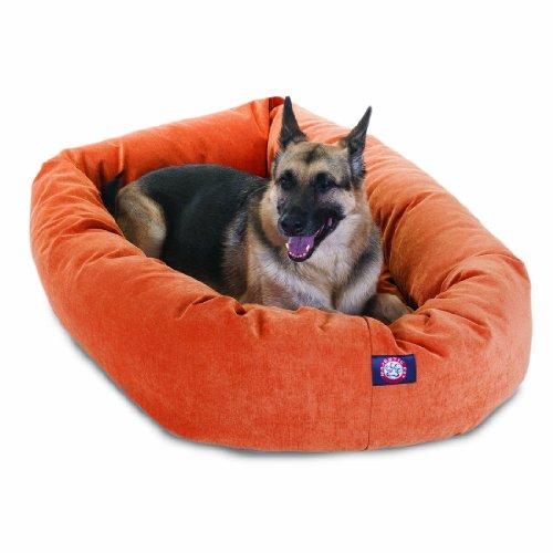 52 inch Orange Villa Collection Micro Velvet Bagel Dog Bed B
