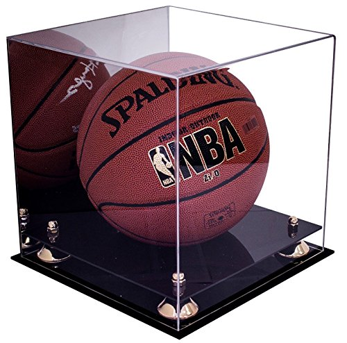 (Deluxe Acrylic Full Size Basketball Display Case with Gold Risers and Mirror (A001-GR) )