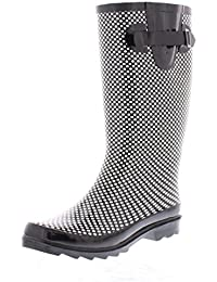 Women's Basic Tall Buckle Rainboot Shoes, Waterproof Jelly Pull On Midcalf Welly Boots