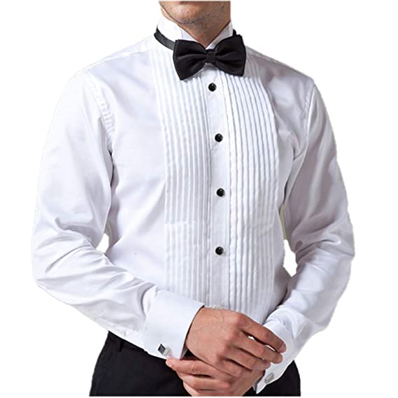 Buy Mr Groove Men's Satin Tuxedo Shirt with Bow Tie (White, Large) at  Amazon.in