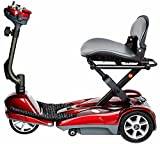 EV Rider Automatic Folding Scooter With Remote Lithium Power Mobility (Burgundy Red)