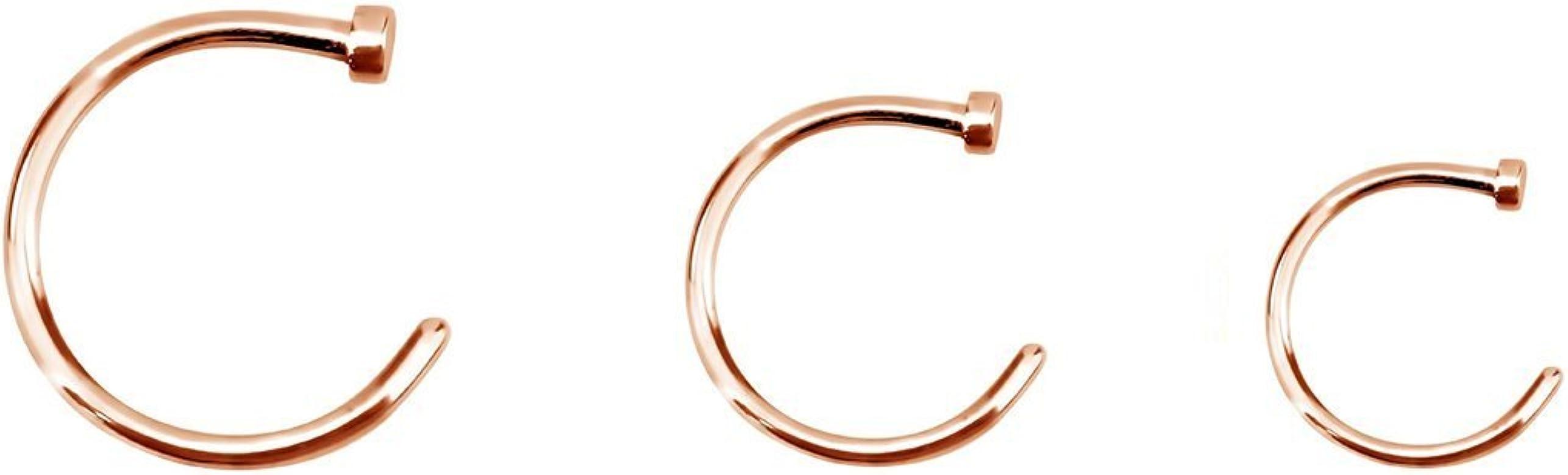 BodyJewelryonline Adultos Nariz Piercing Aros - 3 Pack Oro IP Acero quirúrgico - Calibre 18 o Calibre 20 Disponible (20G): Amazon.es: Joyería