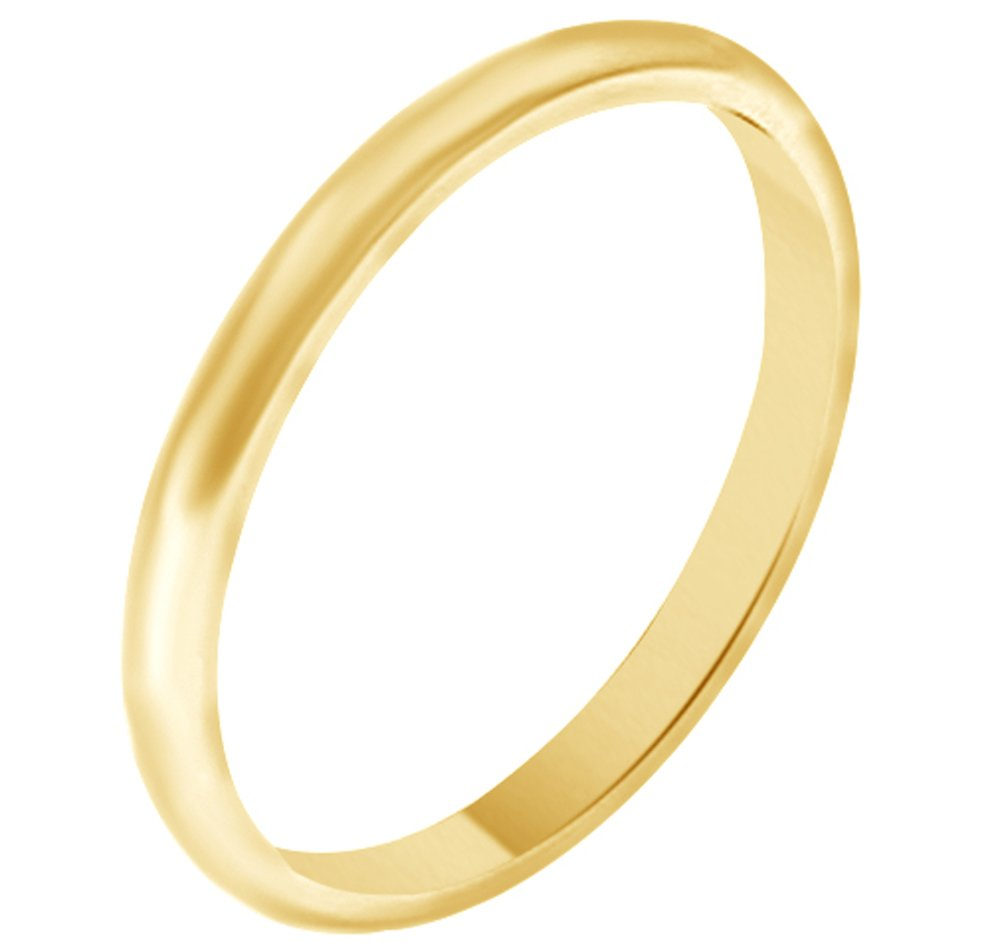 Solid 10k Yellow Gold 2MM Comfort Fit Men & Women Wedding Band Ring