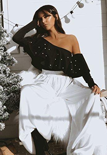 Tops Longues Une Femme Shirts t Manches Sexy Haut New Volant T Chemisiers Noir Fashion paule Perler WR8Ywtqa