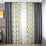 Semi Blackout Linen Window Curtains for Children Room Gray Deer Cartoon Curtain Panels Baby Kid Infant Drapes Nursery Boy Girl Princess Printed Room Darkening Curtain Grommet 2 pcs 100x106 inch