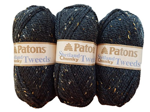 Patons Shetland Chunky Tweed Yarn ( 3 Pack) Bulky Acrylic Wool Blend (Charcoal)