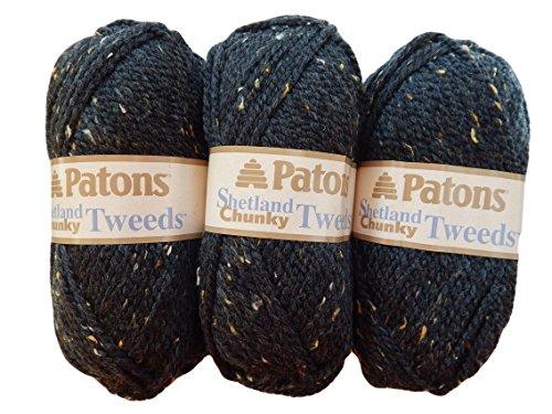 Patons Wool Patterns - Patons Shetland Chunky Tweed Yarn ( 3 Pack) Bulky Acrylic Wool Blend (Charcoal)