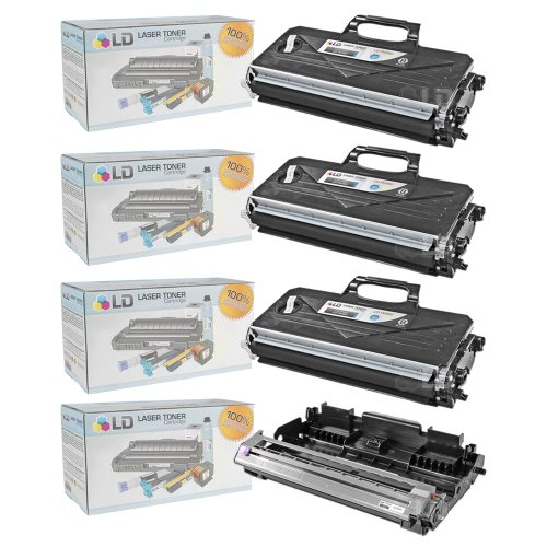 (LD © Compatible with Brother TN360 Toner and DR360 Drum Combo Pack: 3 Black TN360 Laser Toner Cartridge and 1 DR360 Drum Unit for use in DCP-7030, DCP-7040, DCP-7045N, HL-2140, HL-2150N, HL-2170W, MFC-7320, MFC-7340, MFC-7345DN, MFC-7345N, MFC-7440N & MFC-7840W Printers)