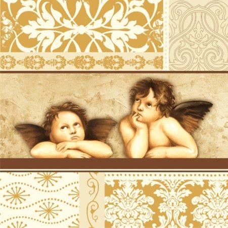 "Christmas Raphael Angels Paper Luncheon Napkins 2 X 20pcs 13""x13"" Decoupage DYI Gold"