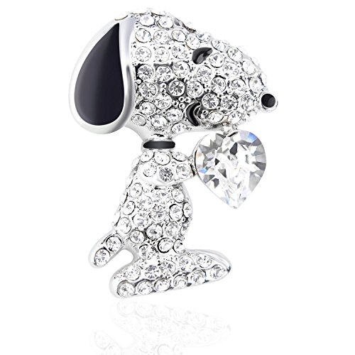 "Tagoo Fashion Peacock Bird Swan Vintage Monkey Seahorse Dolphin Snoopy Animal Brooches Pins Corsages Scarf Clips in Crystal Unisex Women&Men (Snoopy Design Clear Heart 1.26"" H)"