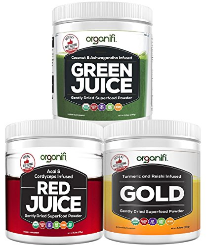 Superfood Powder - Organifi Sunrise to Sunset Power Box (9.5 Oz. each) - Green Juice, Red Juice, Golden Milk- 30 Day Supply - Made to Boost Metabolism, Natural Energy, and Sleep - Organic and Vegan by Organifi
