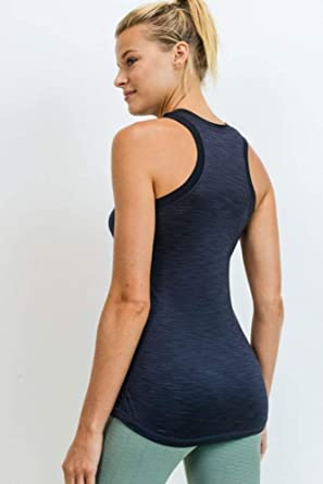 Womens Tank Top Ribbed Racer Back A-Shirt Workout Gym Yoga Stretch Free Size