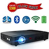 WOWOTO T8E 2000 Lumens WiFi&Bluetooth Multimedia Home Theater Projector Support 1080P Max300'' DLP 3D Video Projector Built in Battery 7800mAh Portable Projector with Android System and Free HDMI Cable