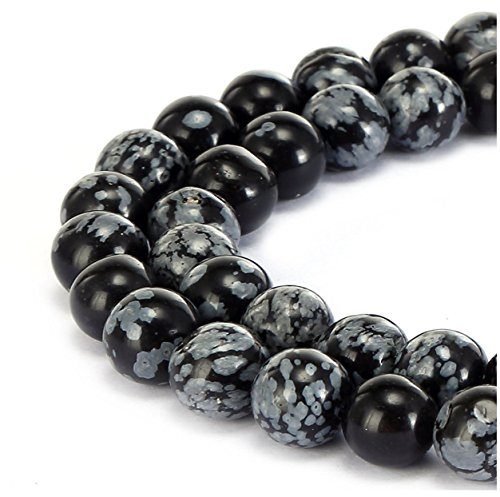 2 Strands Top Quality Natural Snowflake Obsidian Gemstone 10mm Round Loose Gems Stone Beads for Jewelry Craft Making GF14-10