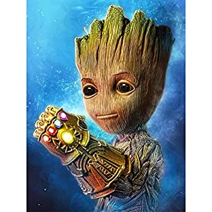 Betionol DIY 5D Diamond Painting Kits for Kids & Adults, Full Drill Crystal Rhinestone Painting by Number Kits with The Theme of Marvel Groot, 12 x 16 inch