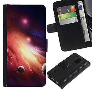 [Neutron-Star] Modelo colorido cuero de la carpeta del tirón del caso cubierta piel Holster Funda protecció Para Samsung Galaxy S5 V SM-G900 [Space Planet Galaxy Stars 36]