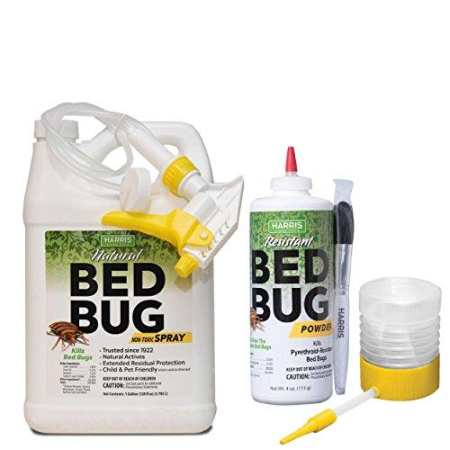 Harris Natural Bed Bug Killer Value Bundle Kit - Gallon Spray, Silica Powder, Powder Duster Applicator