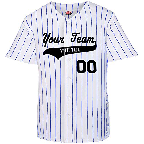 6 Button Pinstriped Custom Baseball Jersey Adult 3X-Large Royal Blue Pinstripes
