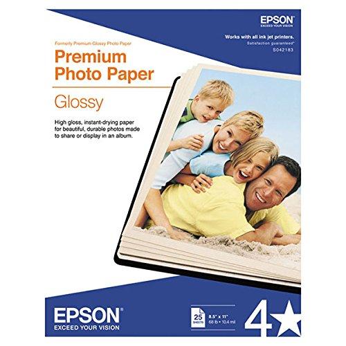 Epson Letter Size Premium Glossy Photo Paper 8.5 X 11 Inch 25 Sheets/Pkg New