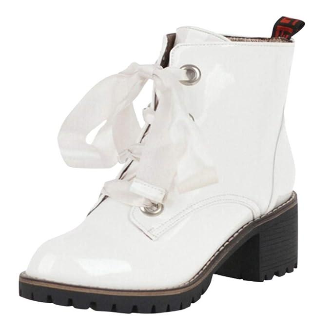 Botas de Invierno Mujer Cuero, Zapatos de Punta Redonda para Mujer Antideslizantes Botas