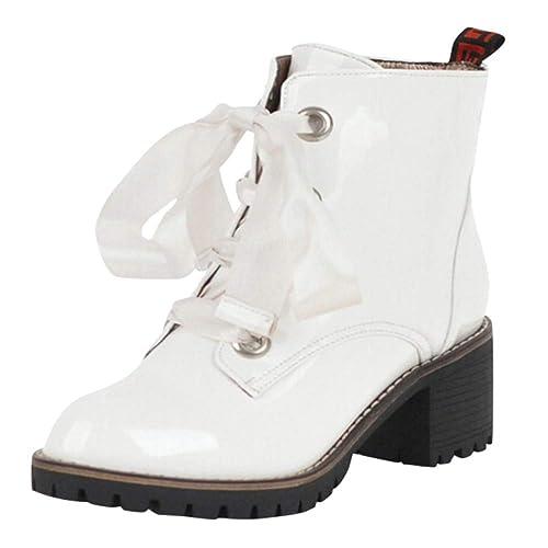 Rawdah Botas Mujer Invierno Botas de Mujer Botines de Punta Redonda Antideslizantes para Mujeres Zapatos de tacón Cuadrado Cruzados Antideslizantes Zapatos ...