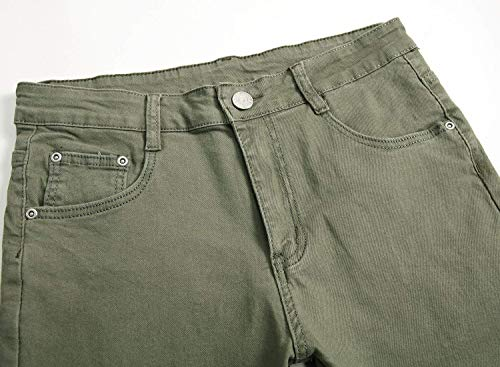 Pantaloni Fit Bianca Uomo Denim Unita Stretch Tinta Slim Retrò Moda Jeans Strappati wOxn6P0xr