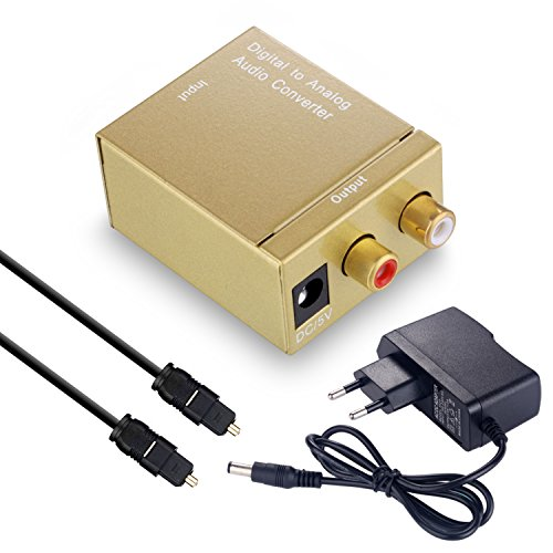 (Digital to Analog Converter DAC Digital SPDIF Toslink to Analog Stereo Audio L/R Converter Adapter with Optical Cable (Golden))