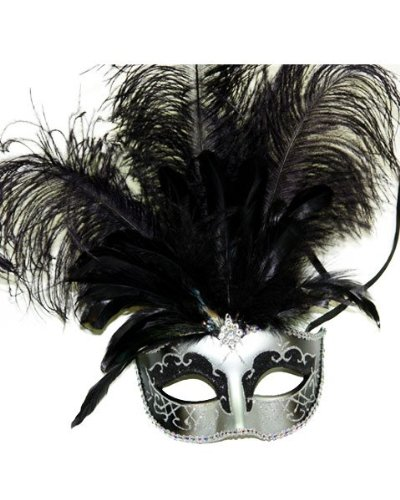 Masquerade Ball Clothing: Masks, Gowns, Tuxedos Venetian Style Mask with Feather in Silver Pattern (Black/Silver) $11.95 AT vintagedancer.com