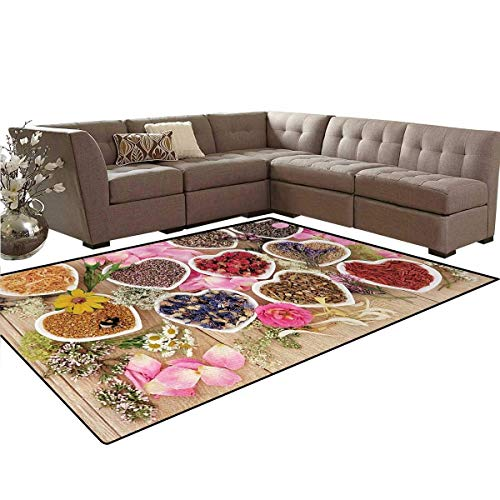 - Floral,Carpet,Healing Herbs Heart Shaped Bowls Flower Petals on Wooden Planks Print Healthcare,Non Slip Rug,Multicolor,5'x7'
