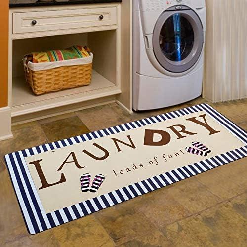 USTIDE Navy Strip Rug for Laundry Room Kitchen, Non-Slip Rubber Backed Floor Mat for Washroom Farmhouse Mudroom Doormat