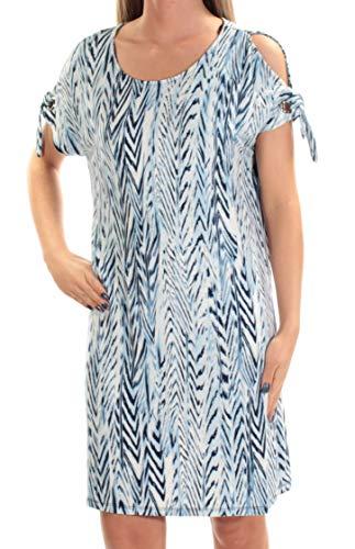 Calvin Klein $90 Womens New 1259 Blue Printed Shift Dress S - Jewel Neck Blue