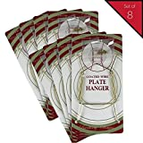 Banberry Designs Brass Vinyl Coated Plate Hanger 5 to 7 Inch Plates - Set of 8 - Includes Hook and Nail for Hanging