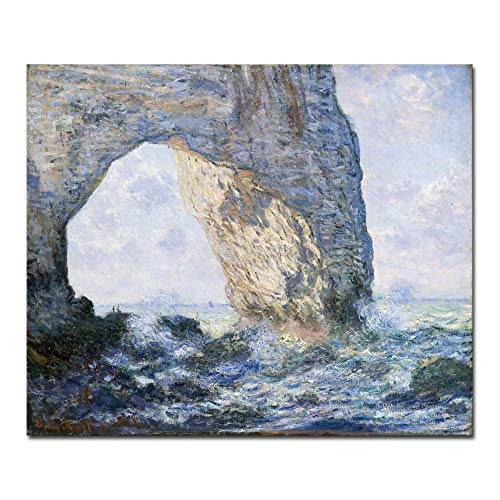 Wieco Art The Manneporte Canvas Prints Wall Art of Claude Monet Famous Oil Paintings Reproduction Large Classical Seascape Sea Beach Pictures Giclee Artwork for Living Room Kitchen Home Office Decor