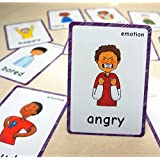 SANTSUN 14 Feelings Emotions Flashcards and Affection Emotional Intelligence Kindergarten Classroom Decoration Background Wall Stickers Teach Flash Card