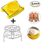 Agyvvt Egg Steamer Rack with Egg Slicer 2-Pack Easter Egg Rack Trivet Stainless Steel Kitchen Stackable Egg Cooker Rack for Instant Pot & Pressure Cooker Cooking Steaming Holder Stand Set